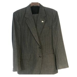 Blue gray men's suit with stripes.